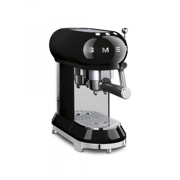 SMEG Espresso-Kaffeemaschine, Schwarz, Siebträger, 15 Bar, Thermoblock-Heizsystem, Cappuccino-Dampff